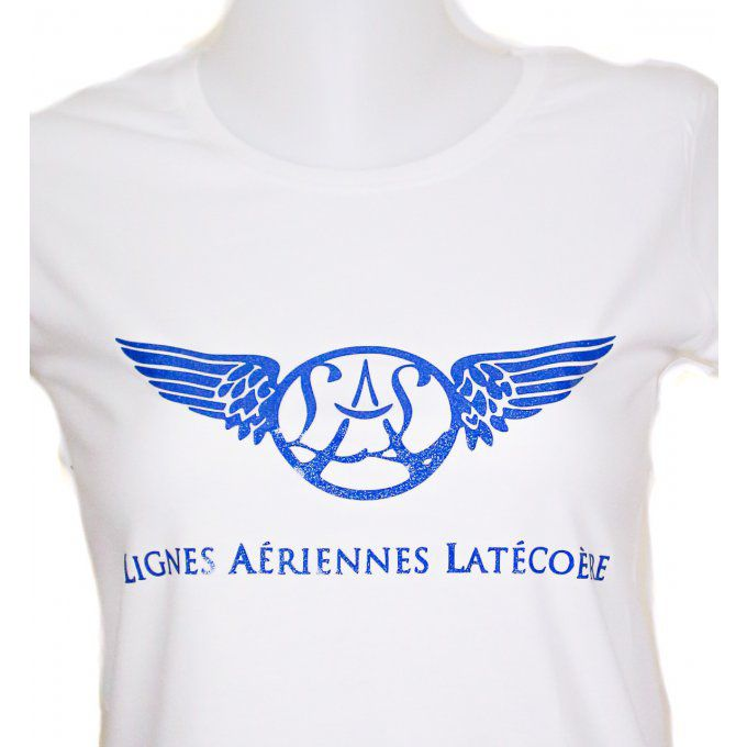 Tee shirt Femme, blanc avec logo bleu brillant, 100% coton, made in Portugal